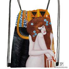 Custom gustav klimt Drawstring Backpack Bag Cute Daypack Kids Satchel (Black Back) 31x40cm#2018612-01-(5)