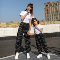 ZOGAA 2019 Summer Fashion Polka Dot Short Sleeve Top with Capris Pant Family Suit Family Matching Clothes 3 colors