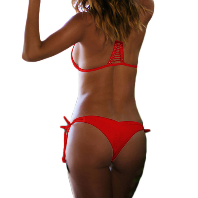 Sexy adjustable Brazilian padded Bikini two pieces Swimsuit female Swimwear  women Scrunch butt Bottom bathing suit K11 08593397b1