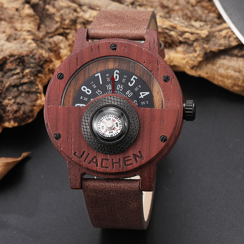 HTB1YbocEHSYBuNjSspfq6AZCpXac Creative Mens Walnut Wood Watch Male Wooden Leather Real Natural Rosewood Men Wrist Watch Men's Compass Turntable Wristwatch