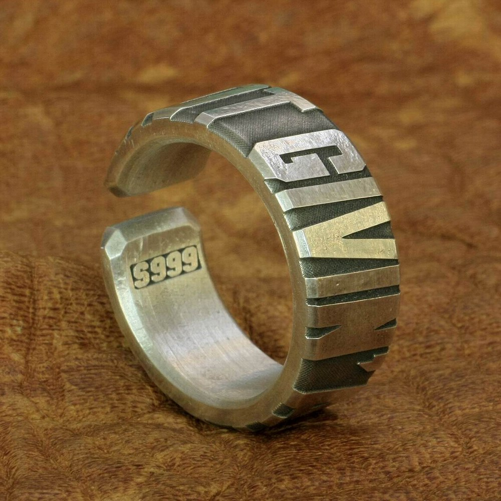 Huge Heavy 10mm Width 999 Silver Open Size Mens Biker Punk Ring 9Y018