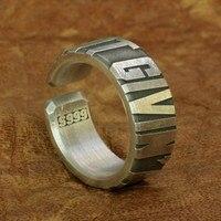Huge Heavy 10mm Width 999 Silver Open Size Mens Biker Punk Ring 9Y018