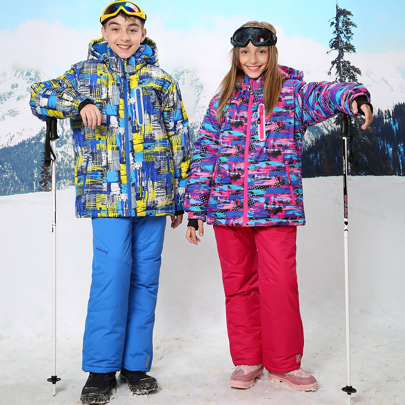 ФОТО 2016 Children Winter Ski Suit For Girls Snowboarding Suits Boys Kids Clothes Warm Snow Jacket And Pants Outdoor For 3T To 16T
