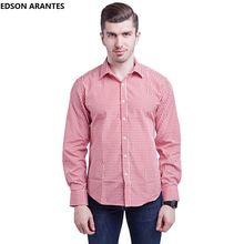 e9c6be150a EDSON ARANTES Male Western Shirt Fashion Mens Plaid Cotton Dress Shirts  Long Sleeve Fitted Button up