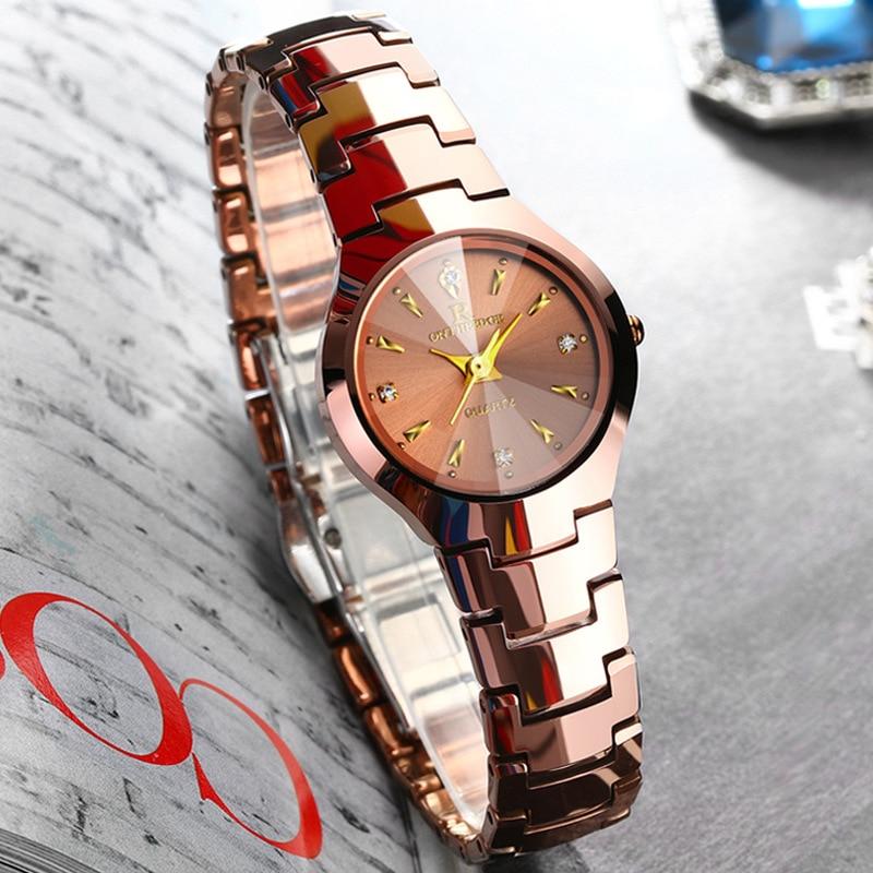 d15c3402a34 Suíça mulheres ouro rosa relógios de Pulso de luxo senhoras de aço de  Tungstênio de quartzo relógios à prova d  água Diamante quadrado Redondo  ONTHEEDGE em ...