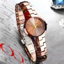 Suisse femmes rose or montres de luxe en acier De Tungstène dames quartz horloges étanche Diamant Rond carré D'origine