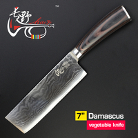 7inch knives Cleaver Chinese Damascus kitchen knife Quality beautiful vg10 steel sharp knife vegetable Chopper wood handle