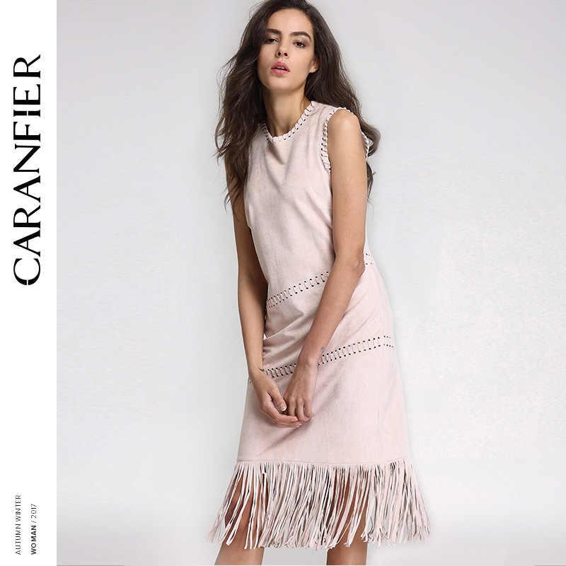 d062ff4fc2f CARANFIER осеннее платье Для женщин пикантные замшевые с длинной бахромой  полые резные круглый Повседневное платья без