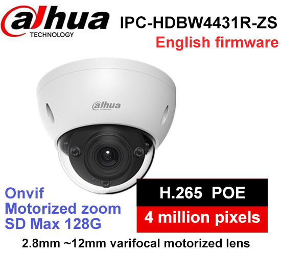 Dahua IPC-HDBW4431R-ZS 4MP POE IP Camera 2.8mm ~12mm motorized zoom lens WDR 4MP IR50M cctv camera winter jacket female parkas hooded fur collar long down cotton jacket thicken warm cotton padded women coat plus size 3xl k450
