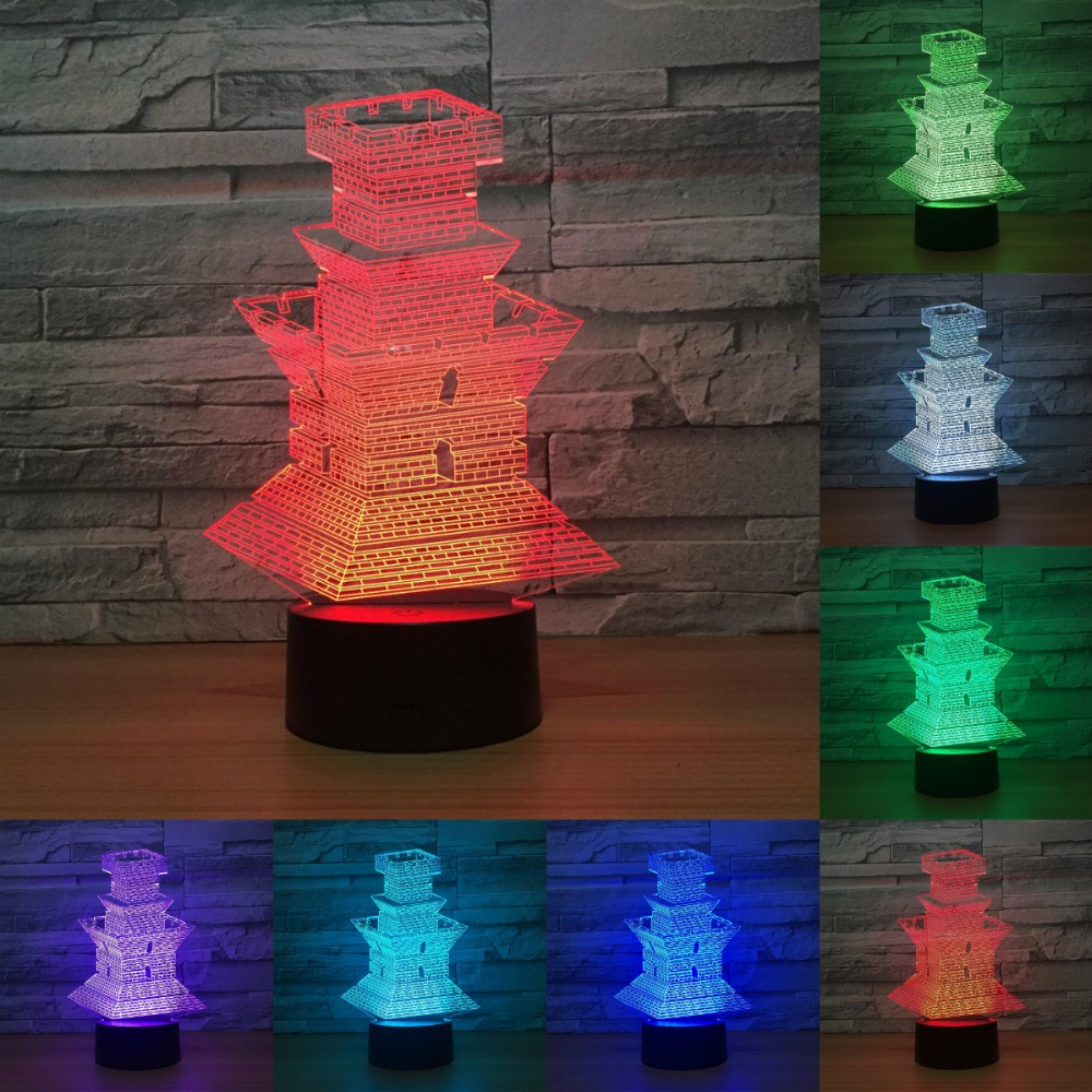 Lighthouse 3d Lamp 7 Color The Beacon Led Night Lamps For Kids Touch Led Usb Table Lamp Baby Sleeping Nightlight IY803140