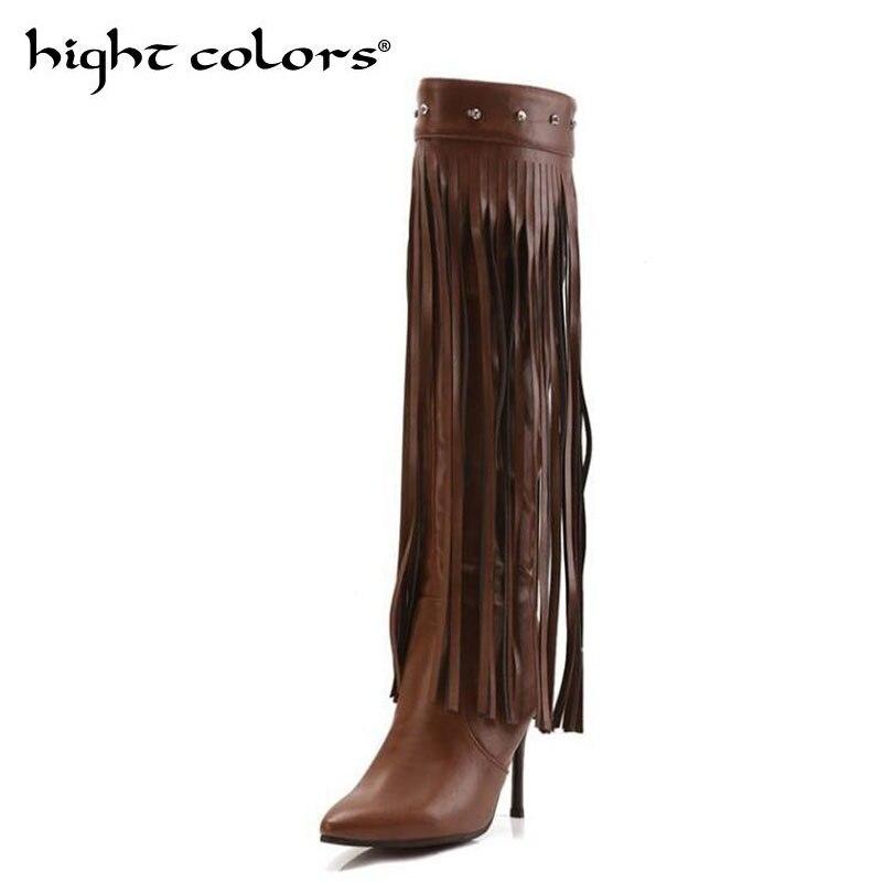 Cm Pu Stiletto Neue Braun 22 Spitzen 26 brown Sexy Knie Quasten 5 Mode ~ Stiefel Black Schwarz 2019 Lange 5 Heel Für Frauen High tqdwZv