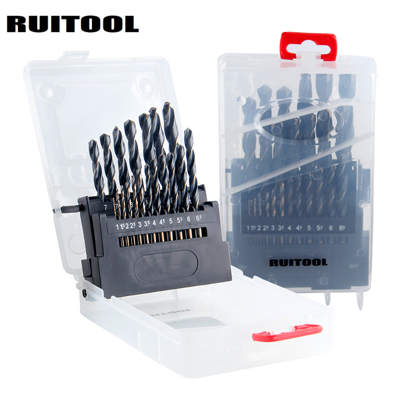 RUITOOL Drill Bit Set 1-10mm/1-13mm HSS6542 Metric Drill Bits Round Shank For Stainless Steel Iron Wood free shipping 1pc hss 6542 made cnc full grinded hss taper shank twist drill bit 17 5mm 228mm for steel