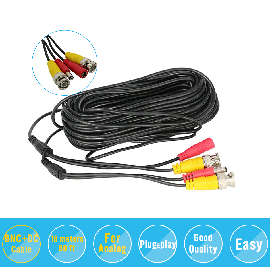 BNC Video Power Siamese Cable 65ft 18m 20m For Analog AHD CVI CCTV Surveillance Camera DVR
