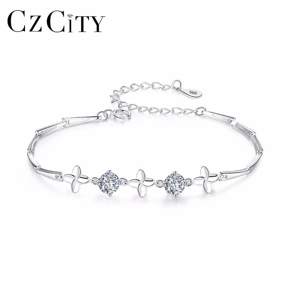 CZCITY Vintage Amour 925 Charmes D'argent Sterling Bracelet Mignon Fleur Femmes Cristal Chaîne Lien Bracelet pour la Fête D'anniversaire Cadeau
