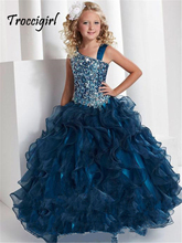 Navy blue sequin ball gowns long kids beaded party dress for girls