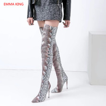 6c43e590242 2018 Pointed Toe Snake Print Over Knee Boots Ladies Thigh High Motorcycle  Boots Winter Woman Shoes