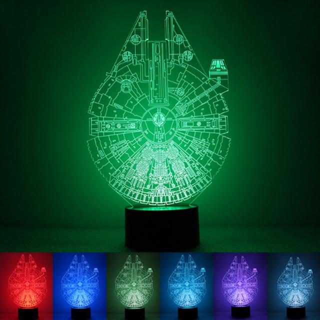 Star wars bb8 bulbificação droid 3d brinquedos luz 7 mudança de cor ilusão visual LED lâmpada Darth Vader Millennium Falcon brinquedo para o presente