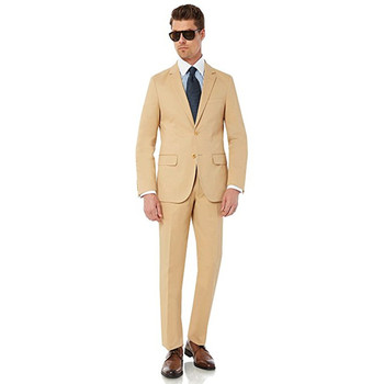Custom Made New Style Mens 2 Button 2 Piece Modern Fit Cotton Suit Weding Tuxedos 2 Piece Groom Suits (Jacket+Pants) L629