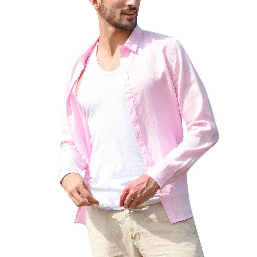 Рубашка мужская мешковатая хлопковая льняная Однотонная рубашка с карманом и длинным рукавом ретро рубашки Топы блузка рубашка Camisa Hombre Manga ...