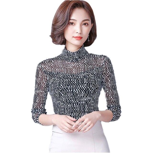 161063c9948 Plus Size Mesh Shirt Female Long Sleeve Plaid Printed Lace Tops Autumn 2017  Fashion Slim Turtleneck