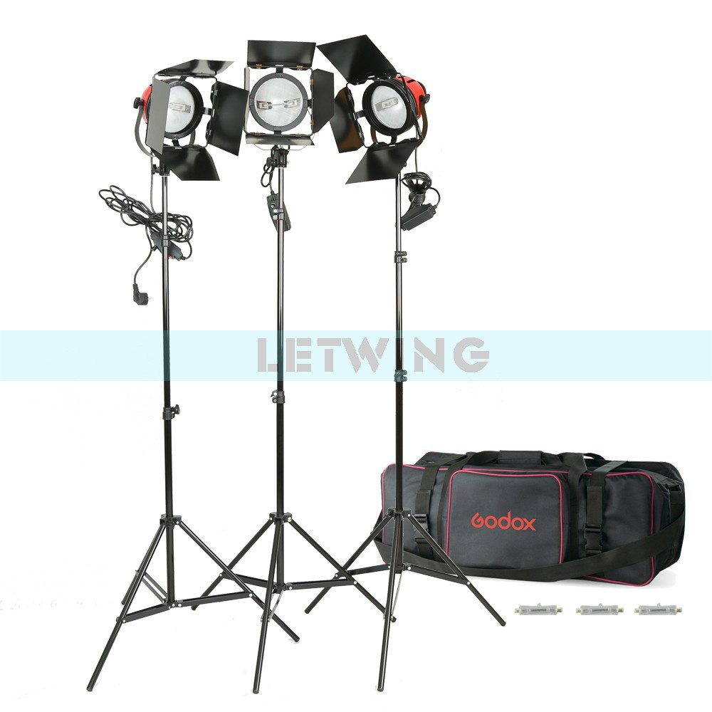 3x 800W 220V Red Head Continuous Studio Video Lighting Kit with Bulbs Tripod Carry Bag ashanks 800w studio video red head light with dimmer continuous lighting bulb free shipping