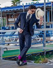 Handsome Two Button Navy Blue Groom Tuxedos Groomsmen Men's Wedding Prom Suits Bridegroom (Jacket+Pants+Vest+Tie) K:801