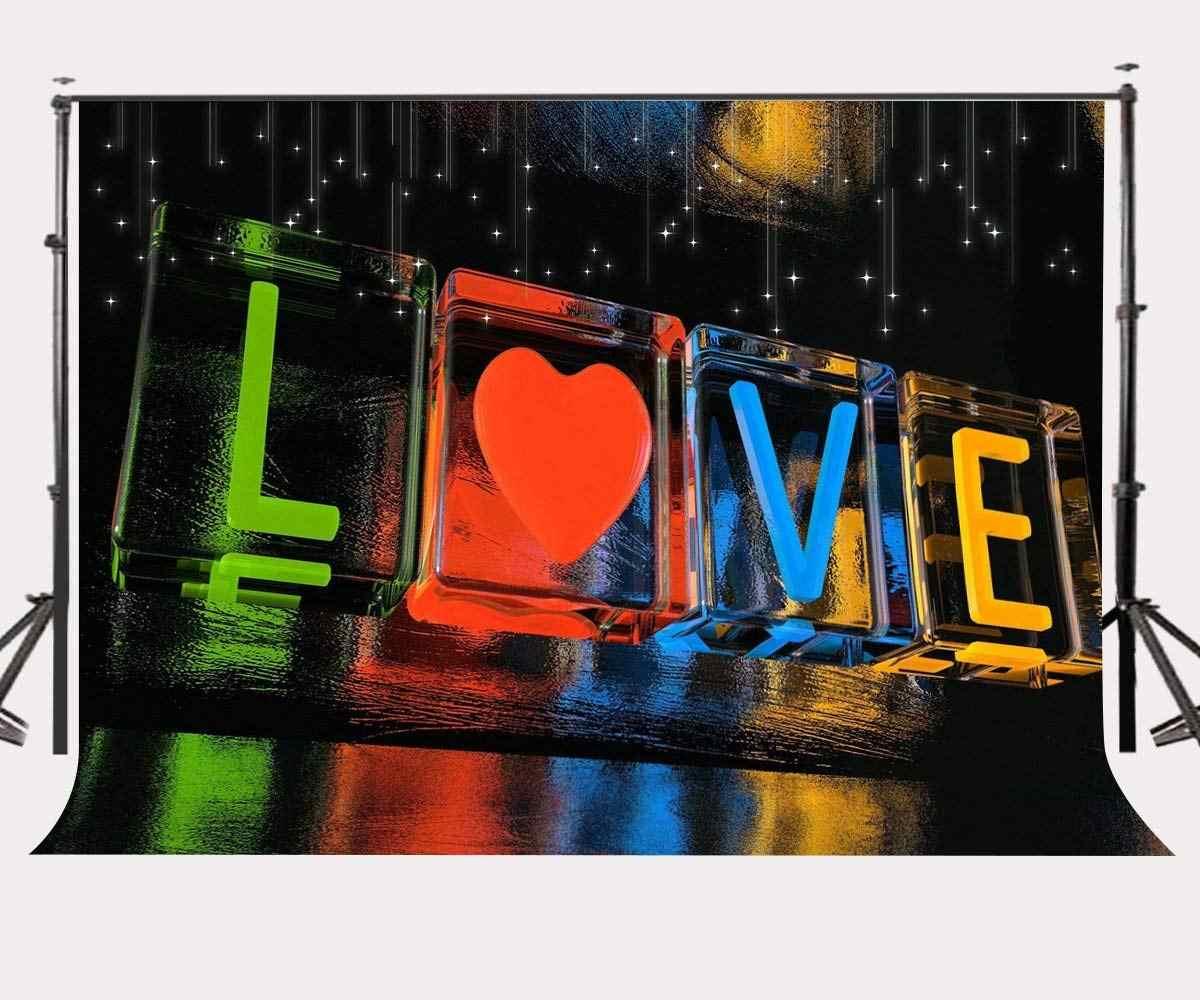 7x5ft Звездный ночной фон красочные Слова Любовь узор кубик льда фотография Фон