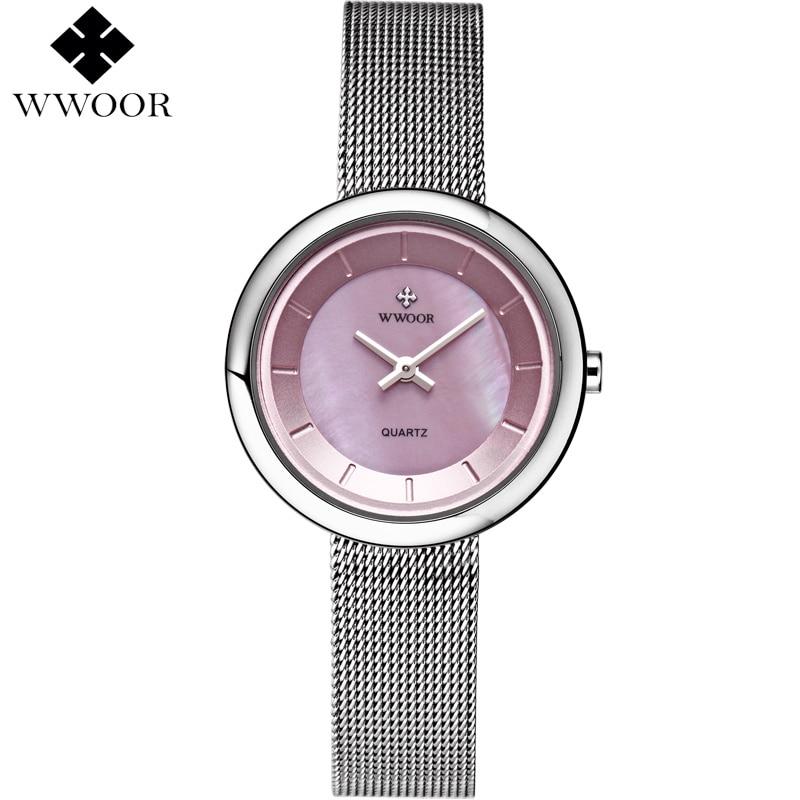 Wwoor signore di marca di lusso casual quarzo ultra-sottile orologio per donna orologio bracciale in acciaio orologi da donna rosa quadrante relogio feminino