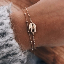 2pcs/set Minimalist Gold Silver Color Small Shell Link Chain Bracelets for Women Friendship Love Charm Bangles Jewelry
