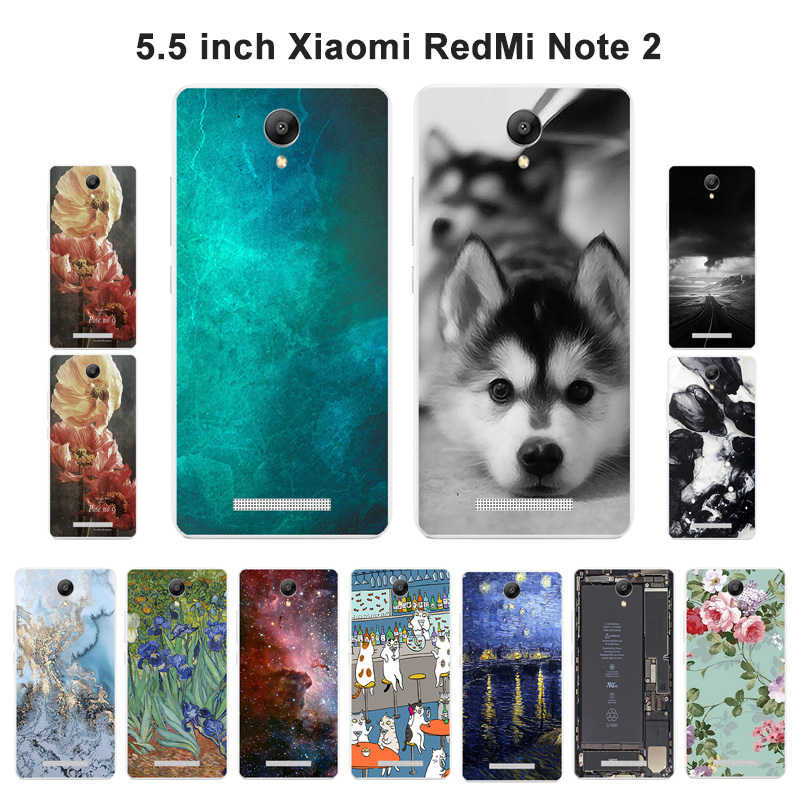 Cases for Xiaomi Redmi Note 2 Soft Silicone Back Phone Cover for Redmi Note2 Scenery Painted Black Shell for Hongmi Note2