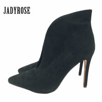 Black Suede Women Pointed Toe Boots Deep V Front Ladies High Heels Women Pumps Slip On