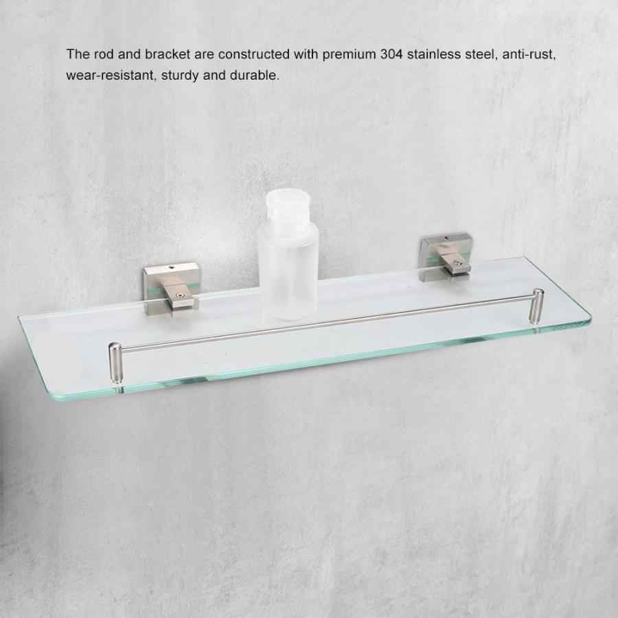 shower rack Bathroom 304 Stainless Steel Glass Shelf Wall Mounted Shower Storage Rack Bathroom Accessories