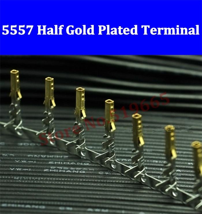 High quality Female 5557 ATX / EPS PCI-E Half Gold Plated terminals Crimp Pins with Long Legs 200/500/2000/5000/10000pcs high quality sbc 659 b1 1 pci interface half liong board 100
