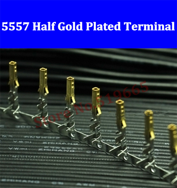 High quality Female 5557 ATX / EPS PCI-E Half Gold Plated terminals Crimp Pins with Long Legs 200/500/2000/5000/10000pcs