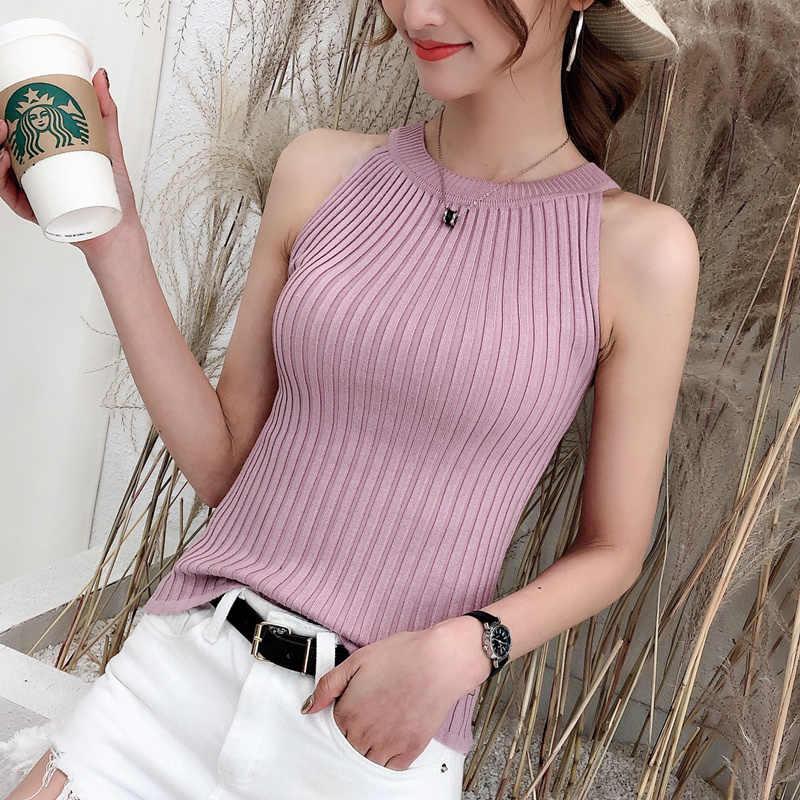 2019 frühjahr und sommer kleine weste weibliche stricken kurze sexy riemen hängenden hals trägerlosen ärmel dichten boden shirt shirt