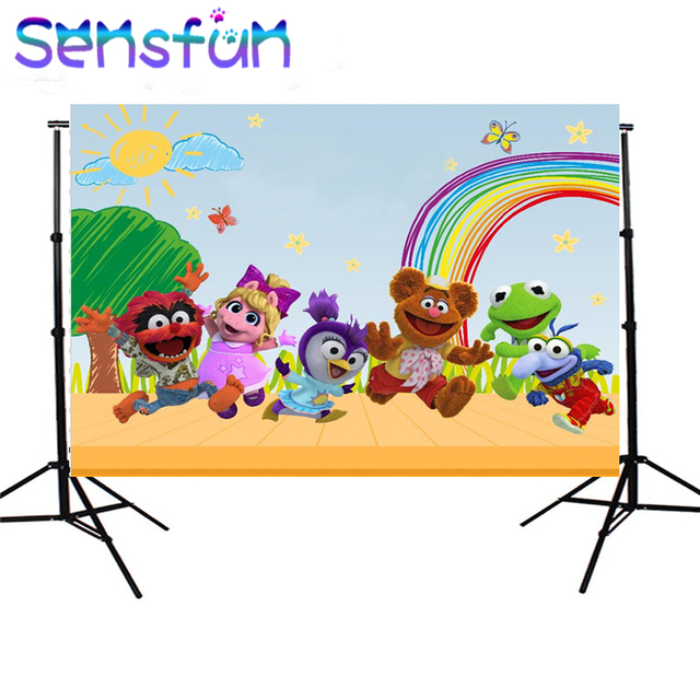 Sxy0238 Sensfun Arcobaleno Nuvole Cielo Pastello Muppet Bambini Fondali Photo Studio Personalizzato Sfondo 7x5ft