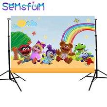Sxy0238 Sensfun tęczowe chmury niebo pastelowe Muppet dzieci tła niestandardowe tło do studia fotograficznego 7x5ft