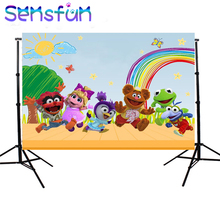 sxy0238 Sensfun Rainbow Clouds Sky Pastel Muppet Babies Backdrops Custom Photo Studio Background 7x5ft