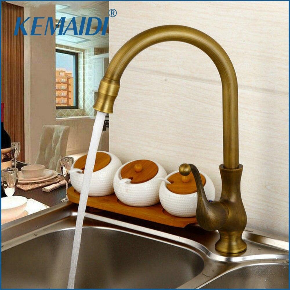 KEMAIDI Kitchen Taps Cozinha Faucet Antique Brass Swivel Spout Kitchen Faucets Single Handle Vessel Sink Mixer Tap