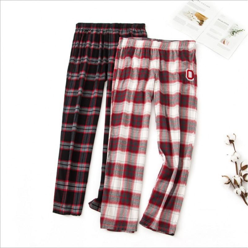 Spring Autumn Women Cotton Sleep Bottoms Female Loose Plus Size Nighty Trousers Sleepwear Pyjama Ladies Plaid Pajama Pants