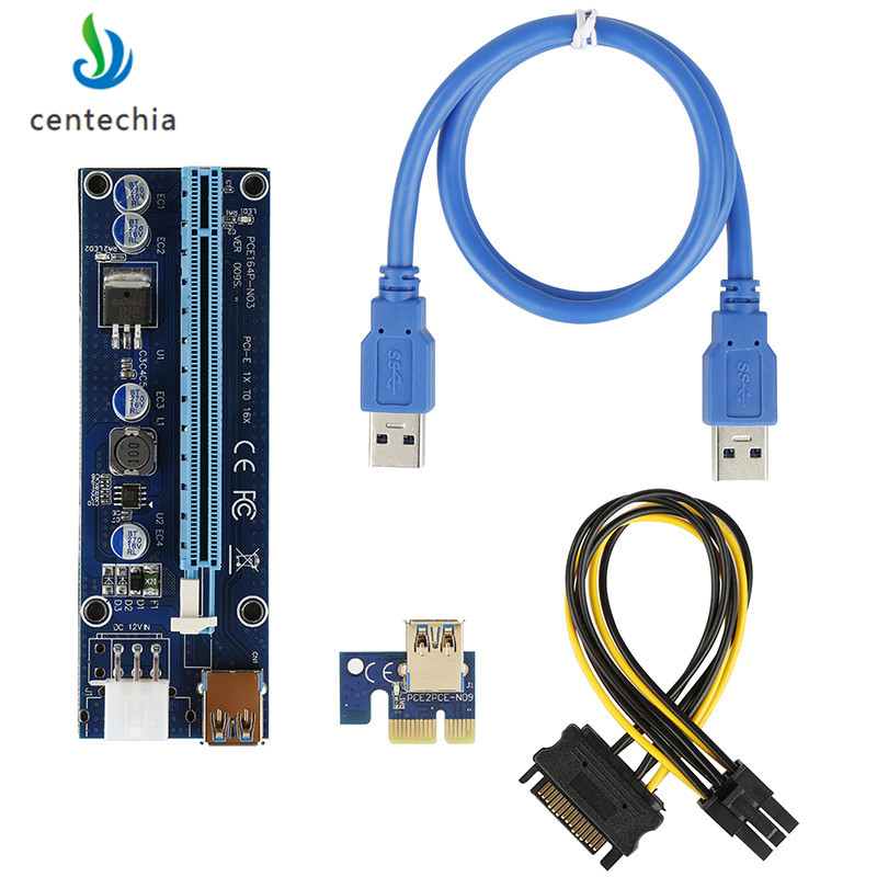 Centechia High Quality VER 009S PCI-E 1X to 16X LER Riser Card Extender PCI Express Adapter USB 3.0 Cable Power Supply for BTC high quality pci e to usb 3 0 4 port express riser expansion card extender adapter for mining high speed extra power connector