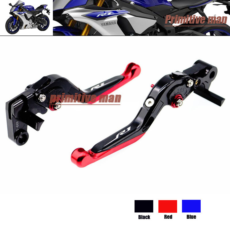 ФОТО For YAMAHA YZF R1 YZFR1 YZF-R1 YZF R1M YZF R1S 15-2016 Motorcycle Adjustable Folding Extendable Brake Clutch Levers LOGO R1 Red