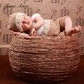 Fotografia новорожденного младенца Вязания Крючком экипировка фото стрелять фотографии реквизит младенческой хлопчатобумажной пряжи наряд хаки светло-серый шляпа + брюки
