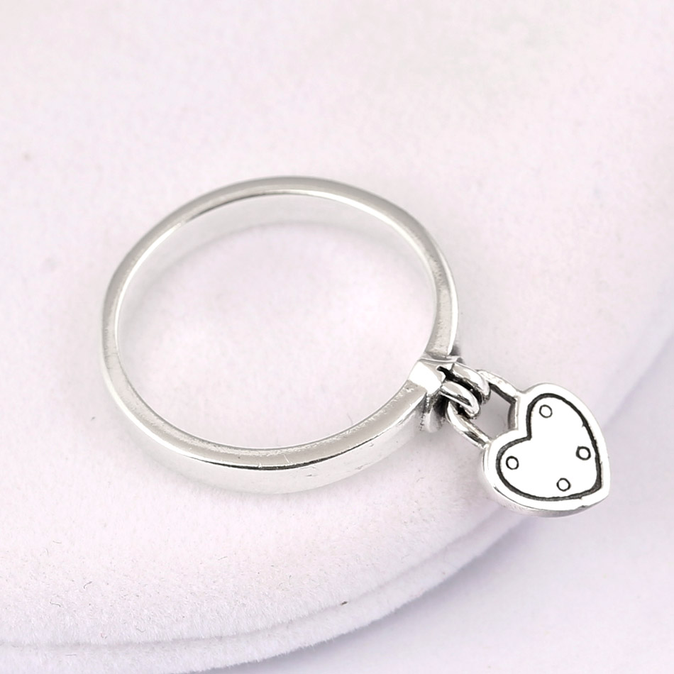 Authentic 925 Sterling Silver Ring Heart-shaped Padlock Love Heart Lock Rings For Women Gift Vanlentine's Day DIY Jewelry