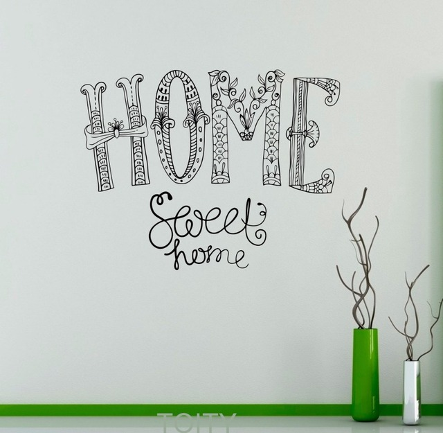 Home Sweet Home Wall Sticker Sayings Vinyl Decal Nursery Quote Home  Interior Cute Decor Mural Housewares