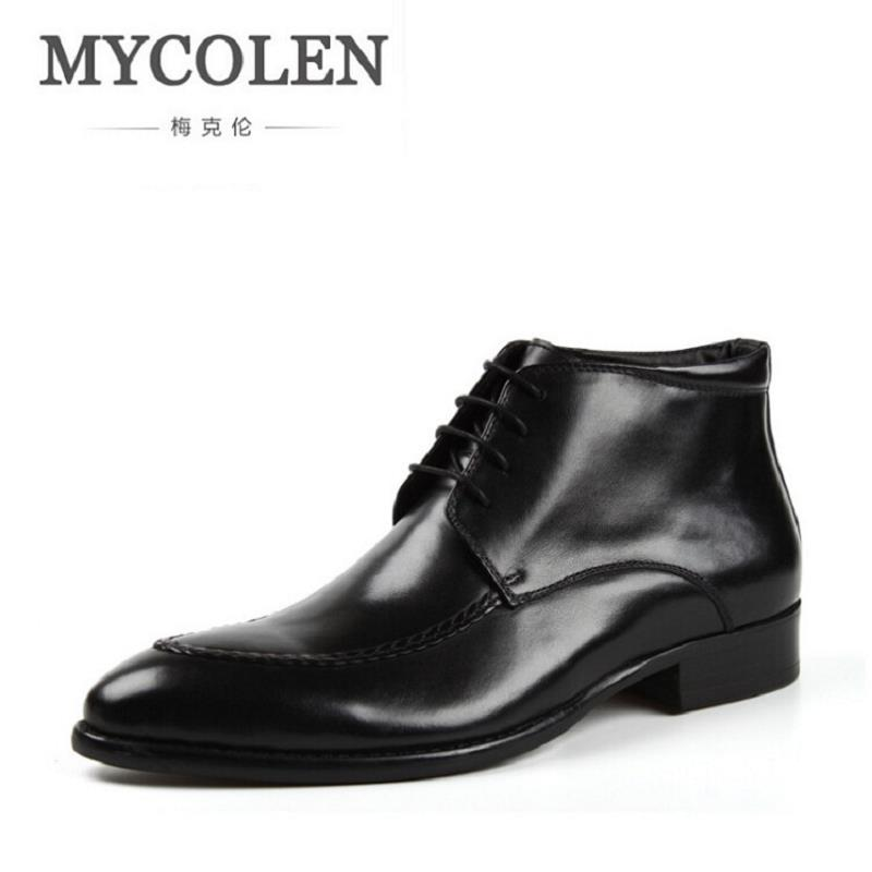 MYCOLEN New Fashion Winter Men Boots High Quality Genuine Leather Men Ankle Boots British Style Lace-Up Men Motorcycle Boots new fashion men boots motorcycle handmade wing genuine leather business wedding boots casual british style wine red boots 8111