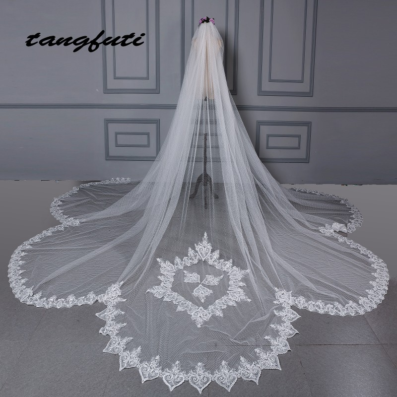 Luxury Bridal Veil Cathedral Veil Long Bride Lace Wedding Bridal Veil 2018 Bridal Veils With Appliques Edge Wedding Accessories