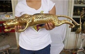 """13"""" Huge BRASS Collect Leopard Panther Cheetah Run Statue decoration brass factory outlets fidget spinner"""