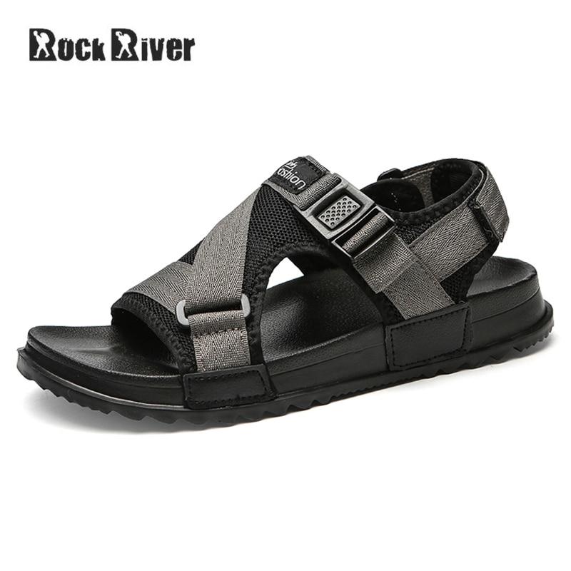 2018 Fashion Sandals Men Hook & Loop Mens Sandals Summer Breathable Outdoor Beach Sandals Plus Size 38-46