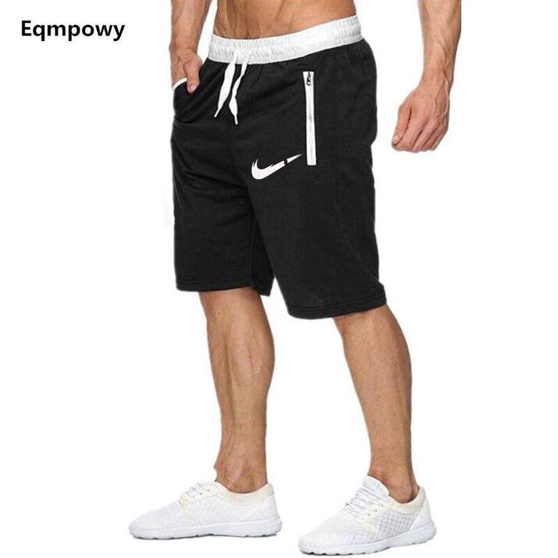 New Fashion Summer Leisure Men Knee Length   Shorts   Color Patchwork LOGO Joggers   Short   Sweatpants Man Bermuda   Shorts